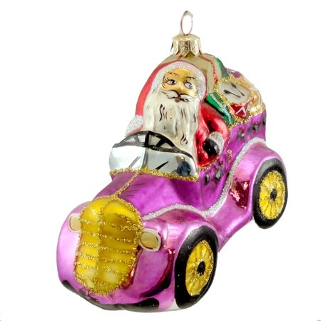 CHRISTOPHER RADKO COMIN TO TOWN Glass Ornament Santa Car Christmas 973680 Purple Christopher Radko Letters To Santa