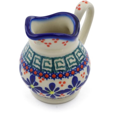 Polish Pottery 3 oz Creamer (Irish Spring Theme) Hand Painted in Boleslawiec, Poland + Certificate of Authenticity