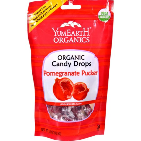 Yummy Earth Organic Candy Drops Pomegranate Pucker - 3.3 Ounce
