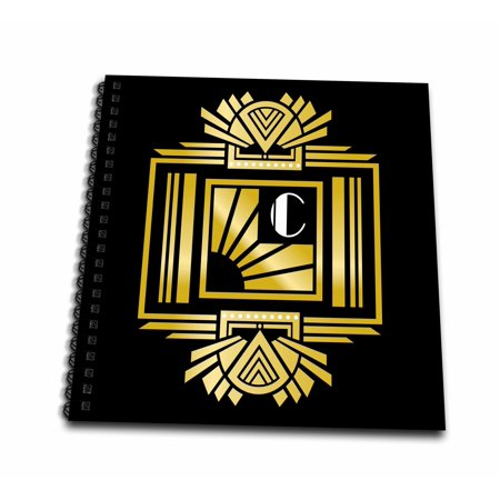 Monogram Memory (3dRose Art Deco Monogram Letter C- Gold Effect and White on Black Background - Memory Book, 12 by 12-inch )