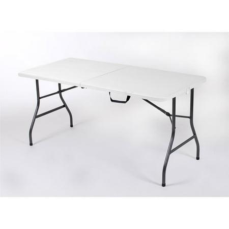 Mainstays 5 Foot Centerfold Folding Table, White (White Folding Table Walmart)