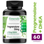 Emerald Laboratories (Ultra Botanicals) - Pregnenolone 50mg w/ 25mg DHEA - Female Hormone Support, Stress Relief, Reduce Symptoms of PMS & Menopause, Increased Energy, & Better Mood - 60 Capsules