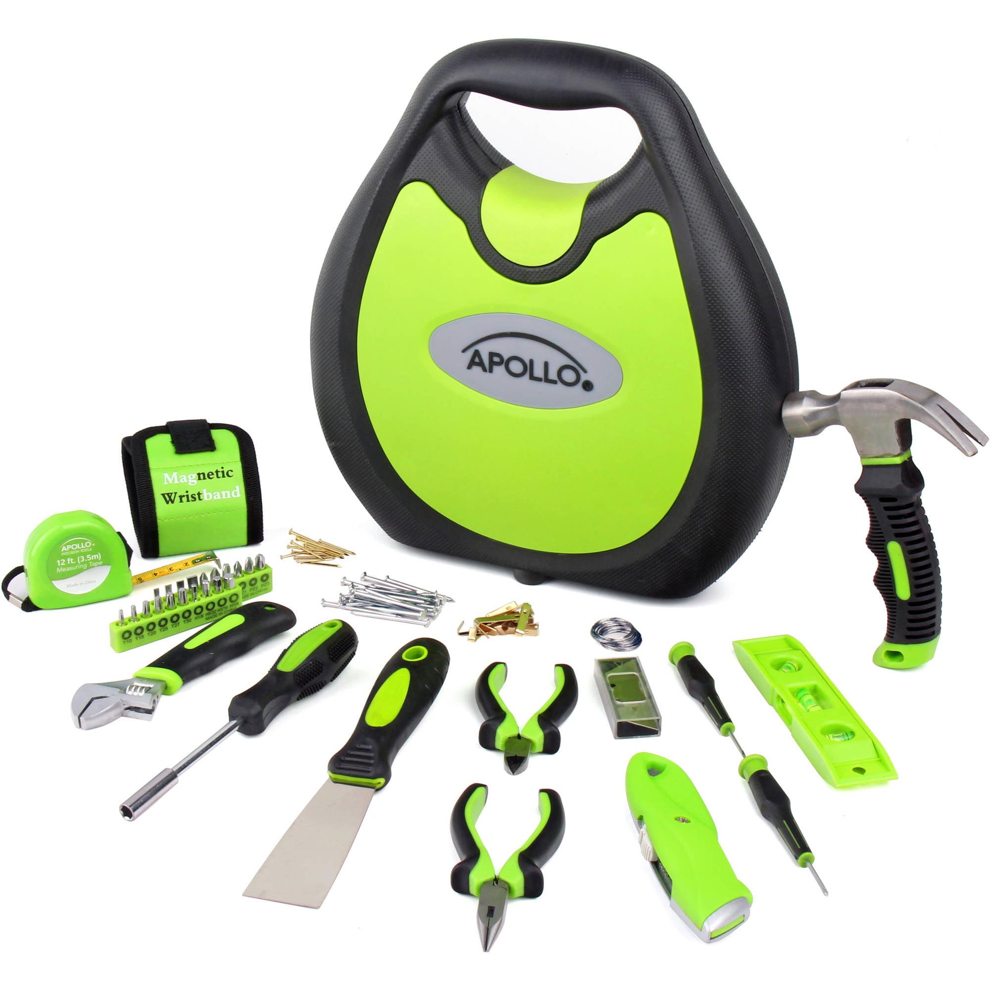 Apollo Tools 72-Piece Household Tool Kit, Green