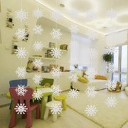 GLiving White Christmas Snowflake Decorations Snowflake Ornaments, 1.5 Meters White Strings and 36 Pieces Snowflake for Home Christmas Holiday Party Decorations(6 Set Per Pack)