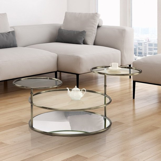Furniture Of America Hora Modern Gold Glass Round Swivel Coffee Table Walmart Com Walmart Com