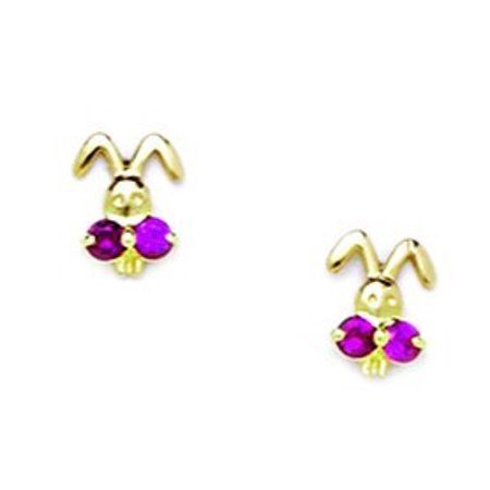 14k Yellow Gold Red Cubic Zirconia Bunny Rabbit Shaped Screw-Back Earrings - Measures 7x6mm 14k Yellow Gold Bunny