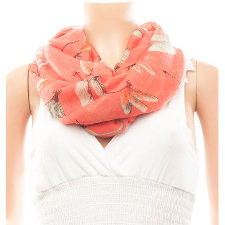Celik Women's Infiniti Scarves Classic Dragonfly Pattern On Solid Background