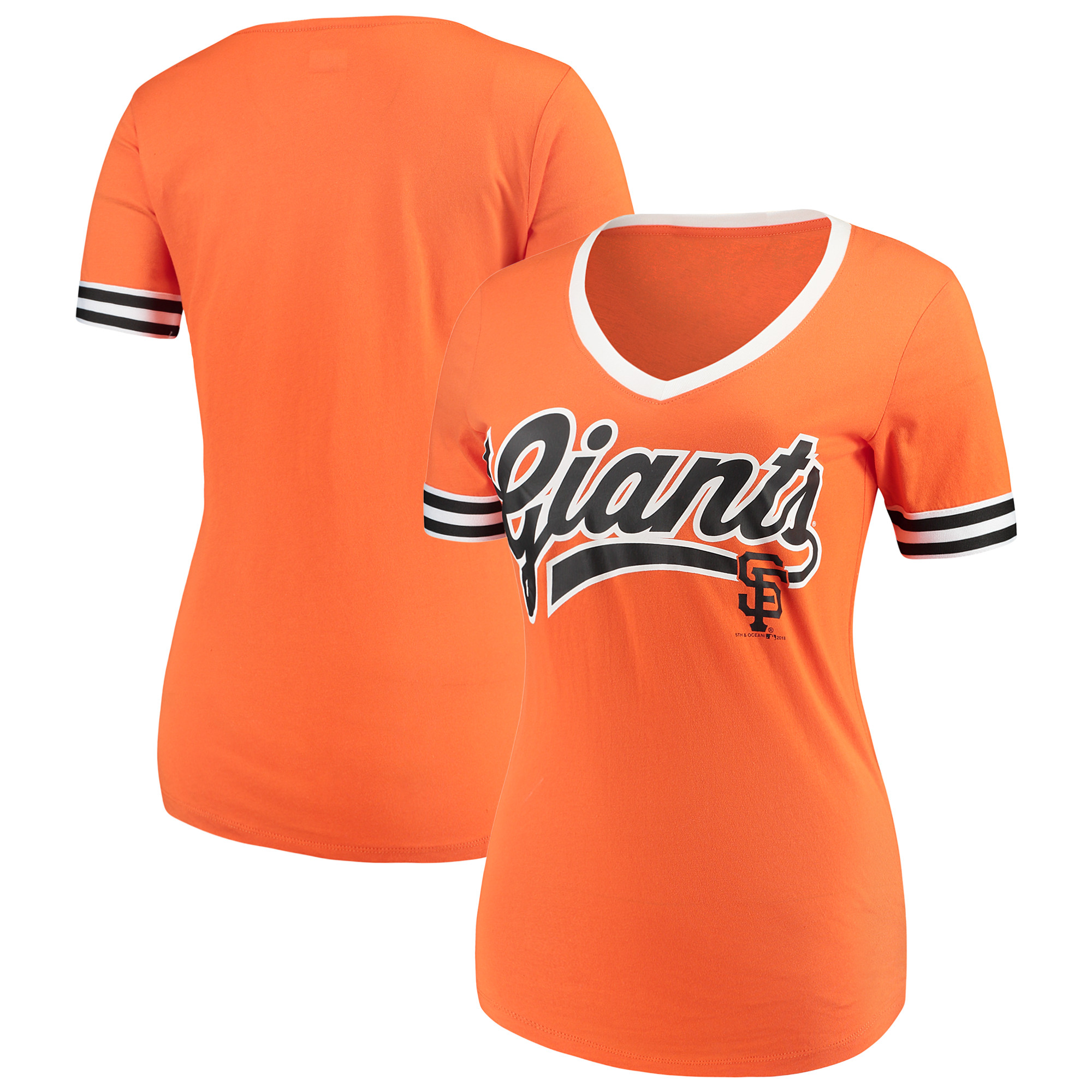 San Francisco Giants 5th & Ocean by New Era Women's Baby Jersey Contrast Sleeve T-Shirt - Orange