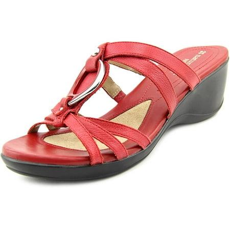 Naturalizer Trance Women Open Toe Leather Burgundy Sandals