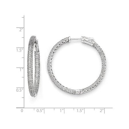 Argent 925 rhodi? CZ In et Out (Boucles d'oreilles Hinged de 34x34mm) - image 1 de 2