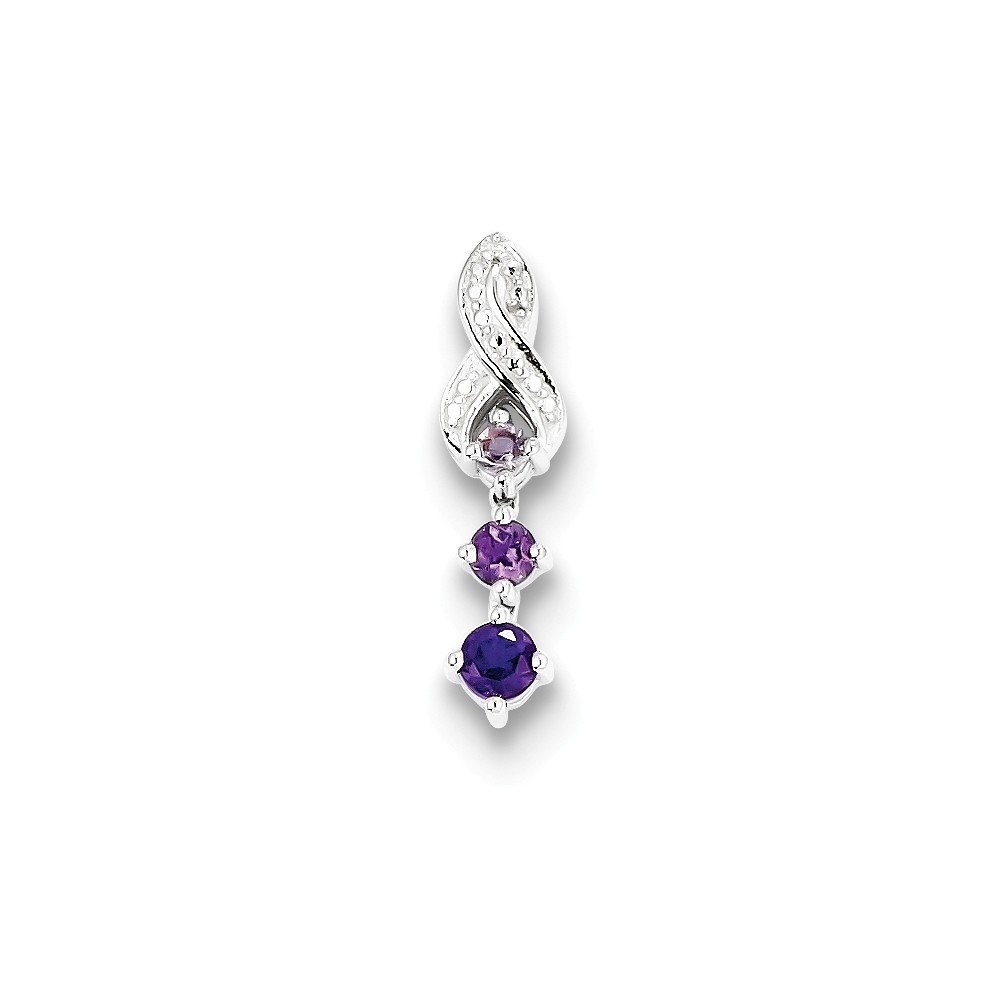 Sterling Silver Pink Amethyst Amethyst Diamond Pendant. Gem Wt- 0.34ct