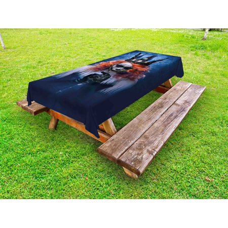 Queen Outdoor Tablecloth, Queen of Death Scary Body Art Halloween Evil Face Bizarre Make Up Zombie, Decorative Washable Fabric Picnic Table Cloth, 58 X 84 Inches,Navy Blue Orange Black, by Ambesonne