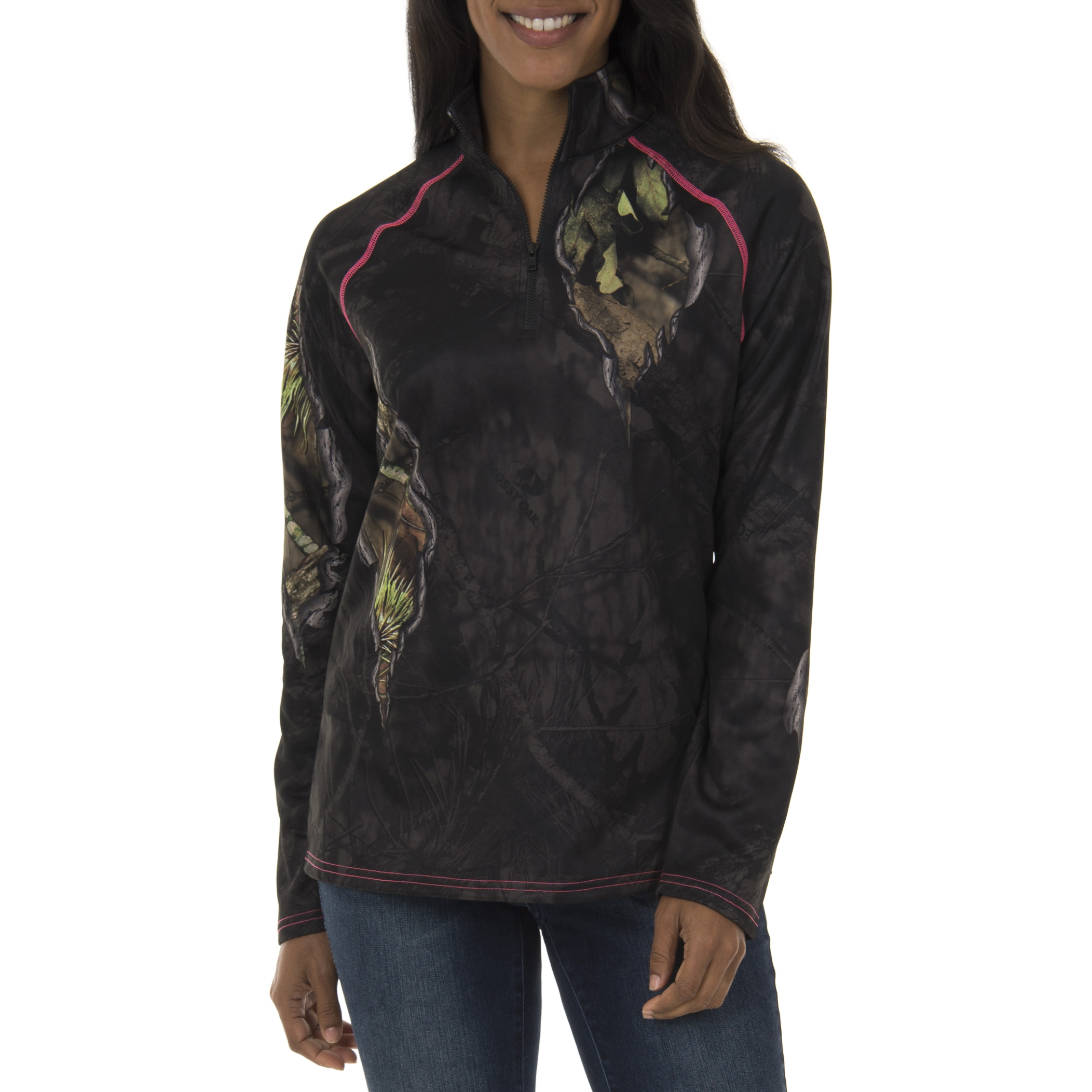Realtree & Mossy Oak Women's Fleece Performance Camo 1 4 Zip Jacket by INTRADECO