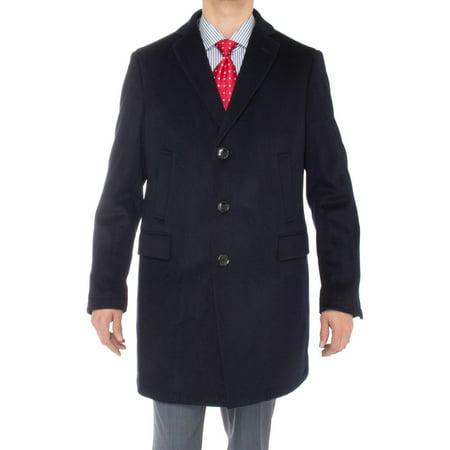 Luciano Natazzi Men's Cashmere Trench Coat Classic Modern Topcoat Overcoat Navy Blue