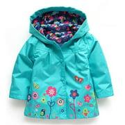 Puloru Kids Children Girl Flowers Hooded Waterproof  Windproof Raincoat Jacket Outwear