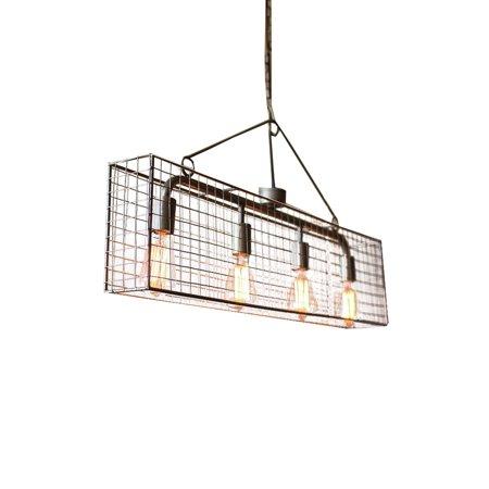Four Bulb Wire Mesh Cage Long Horizontal Pendant Light Fixture w ...