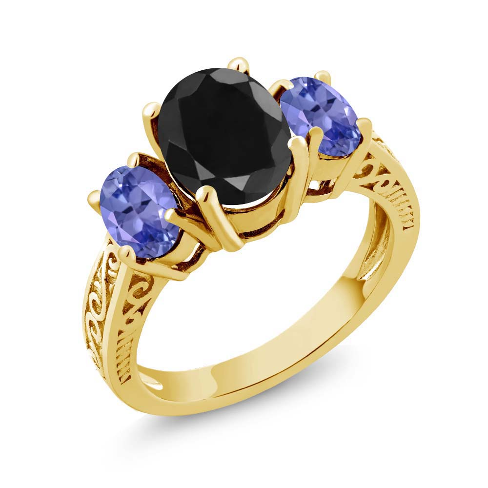 3.44 Ct Black Sapphire Blue Tanzanite 925 Yellow Gold Plated Silver 3-Stone Ring