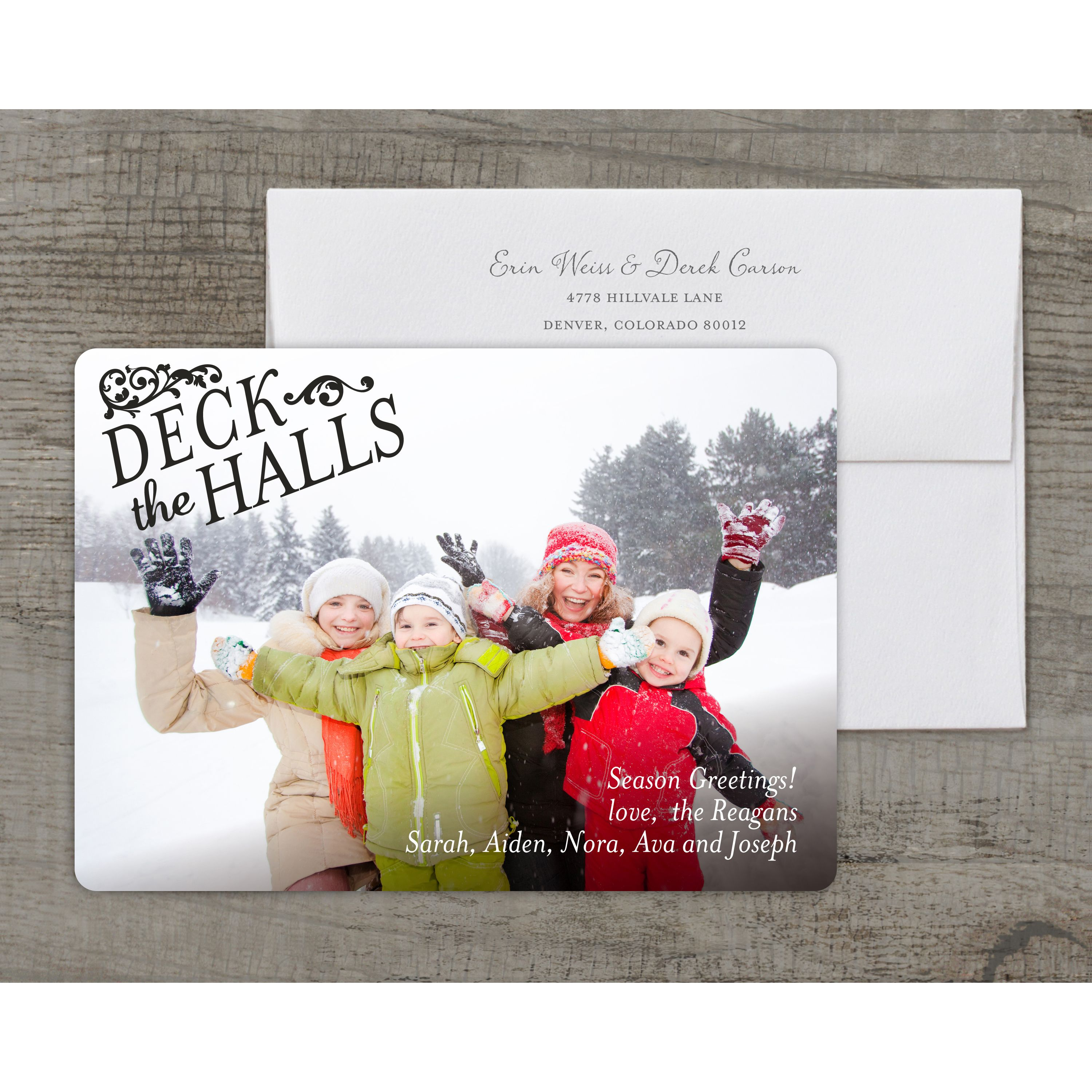 Deck the Halls - Deluxe 5x7 Personalized Holiday Holiday Card