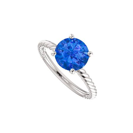 1 CT 14K White Gold Royal Sapphire Solitaire Designer Rope Ring, Size 6 - image 1 of 1