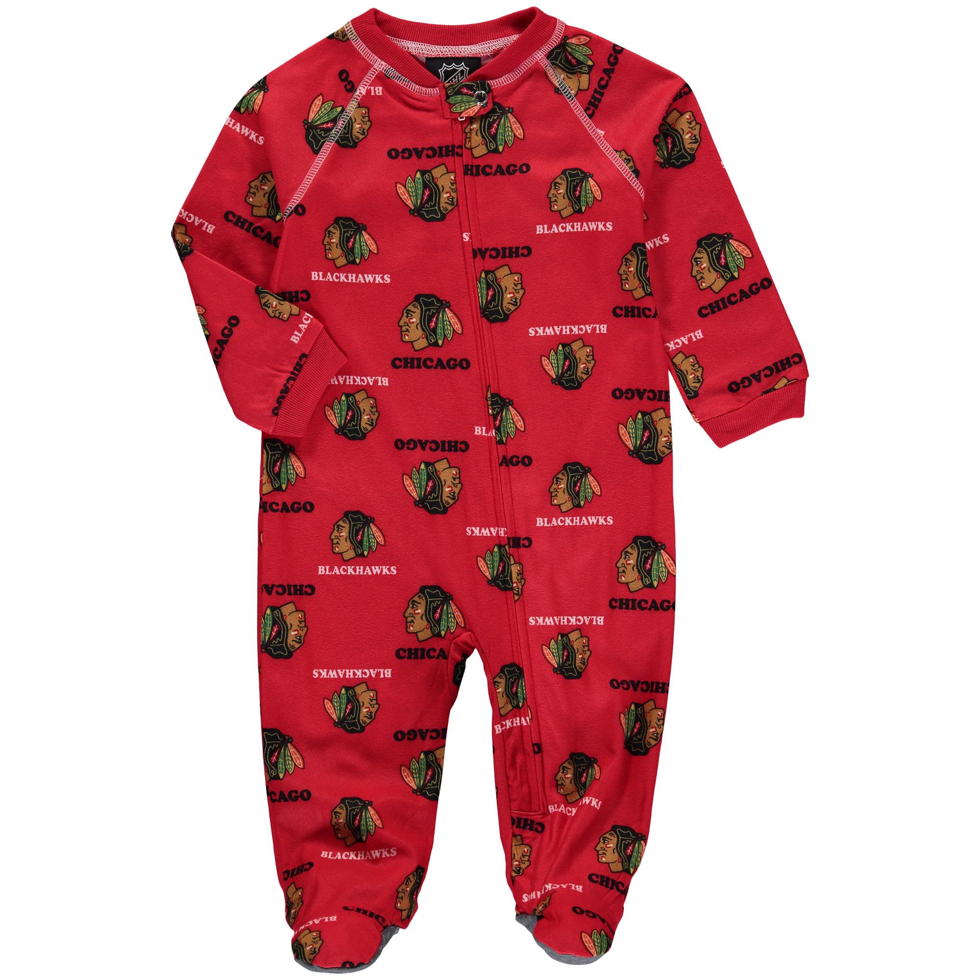 Chicago Blackhawks Infant Team Print Raglan Zip Coverall - Red