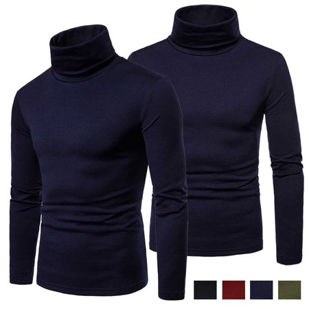Mens Long Sleeve Cotton High Neck Turtleneck Stretch Slim Basic T Shirt Tee Tops