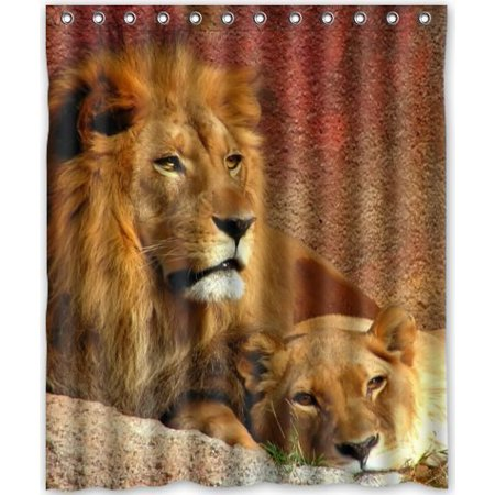 HelloDecor The King Of Forest Lion Shower Curtain Polyester Fabric Bathroom Decorative Size 60x72 Inches