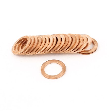 Unique Bargains 20pcs 14mmx20mmx1.5mm Copper Flat Washer Ring Line Seal