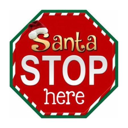 Santa Metal Sign (Smart Blonde Santa Stop Here Metal Novelty Stop Sign)