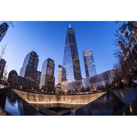 World Trade Center memorial at twilight World Trade Centre New York City New York United States of America Canvas Art - F M Kearney  Design Pics (18 x 12)