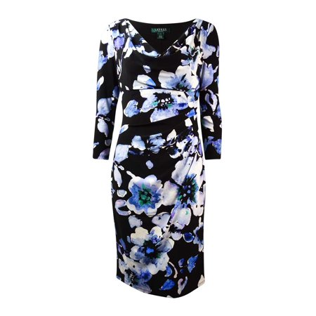 Lauren Ralph Lauren Womens 3 4 Sleeves Cowl Floral Dress