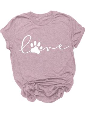 Summer Dog Foot Print Casual Short Sleeve T-shirt O-neck Tops