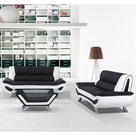 United Furniture Express Arianna Black And White Bonded Leather Sofa Loveseat Set