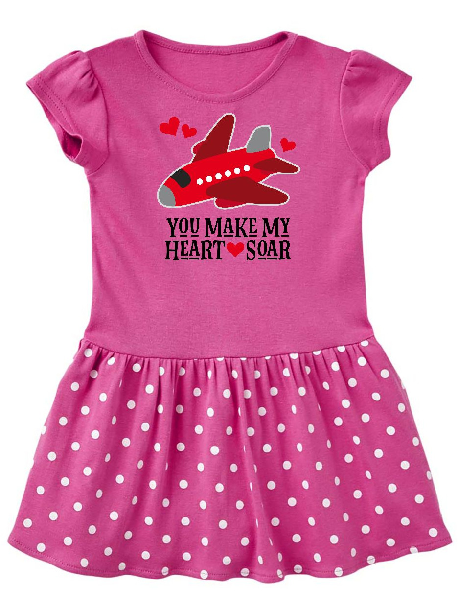Valentines Day Airplane Hearts Toddler Dress