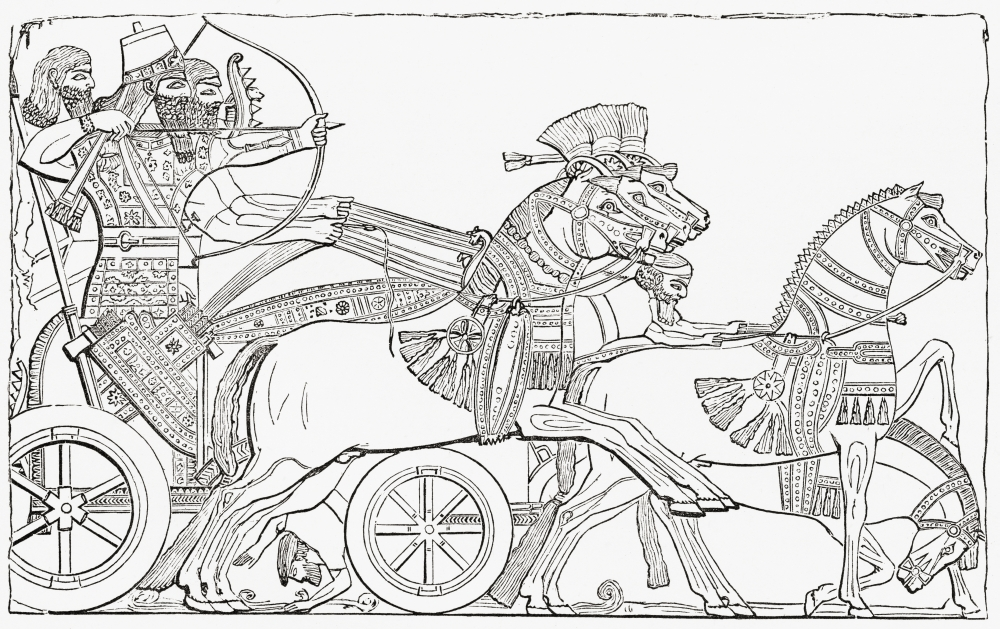 Assyrian War Chariot From The Imperial Bible Dictionary Published