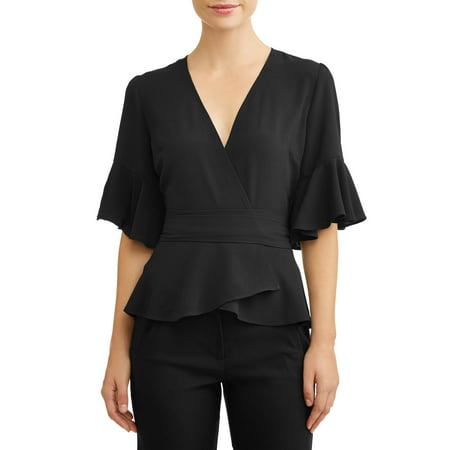 L.N.V. Women's Ruffle Sleeve Wrap Top