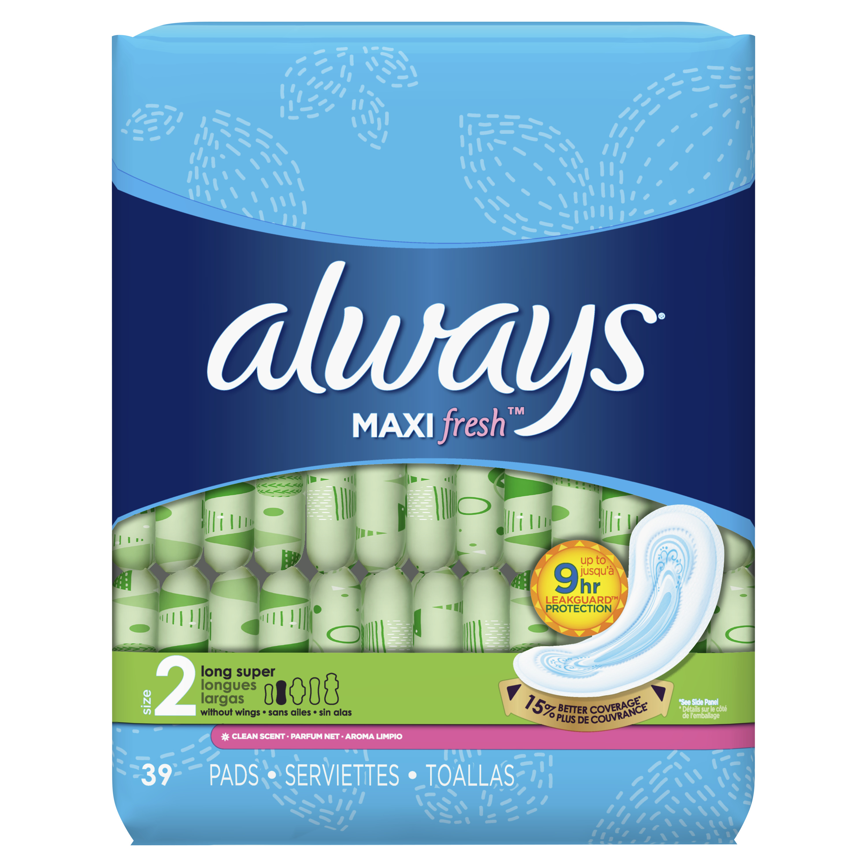 Always Maxi, Size 2, Super Pads, Scented, 39 Count