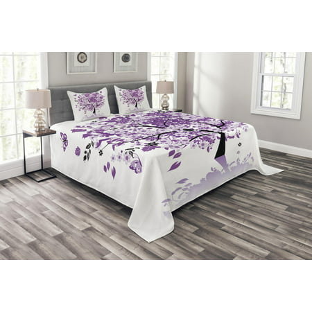 Nature Bedspread Set, Spring Tree of Life Sacred Woods with Blooming Flower and Butterfly Flying Romance, Decorative Quilted Coverlet Set with Pillow Shams Included, Lilac Purple, by Ambesonne Purple Flower Bead