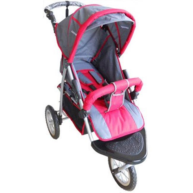 AmorosO Single Jogging Stroller, Black/Red, 12""