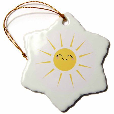 3dRose Smiling happy sun - cute kawaii yellow sunny smiley face - summery sunshine on white - sweet summer - Snowflake Ornament, 3-inch