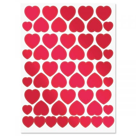 Foil Hearts Stickers - Set of 52 stickers](Heart Stickers)
