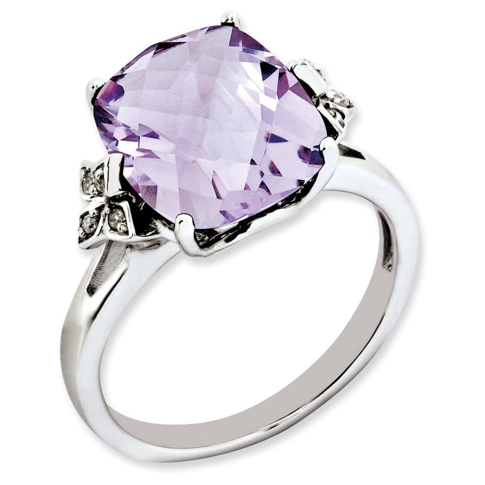 925 Sterling Silver 4-Prong Set Cushion Pink Quartz and Diamond Ring by gemaffair