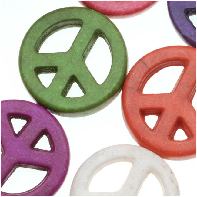 Dyed Stone Carved Flat Peace Signs Antiqued Color Mix 15mm - 16 Inch Strand