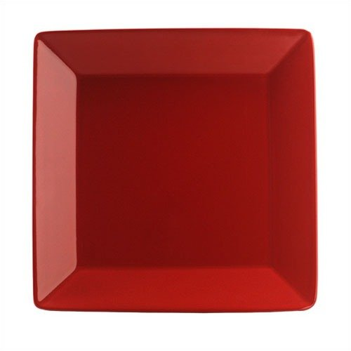 Waechtersbach Large Rimmed Square Dinner Plate in Cherry Red (Set of 4)