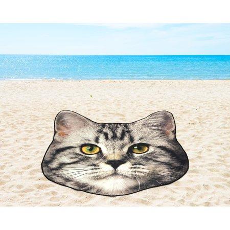 Mainstays Shaped Cat Beach Towel, 1 Each