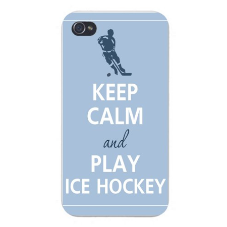 Apple Iphone Custom Case 5 / 5s AND SE White Plastic Snap on - Keep Calm and Play Ice Hockey Player