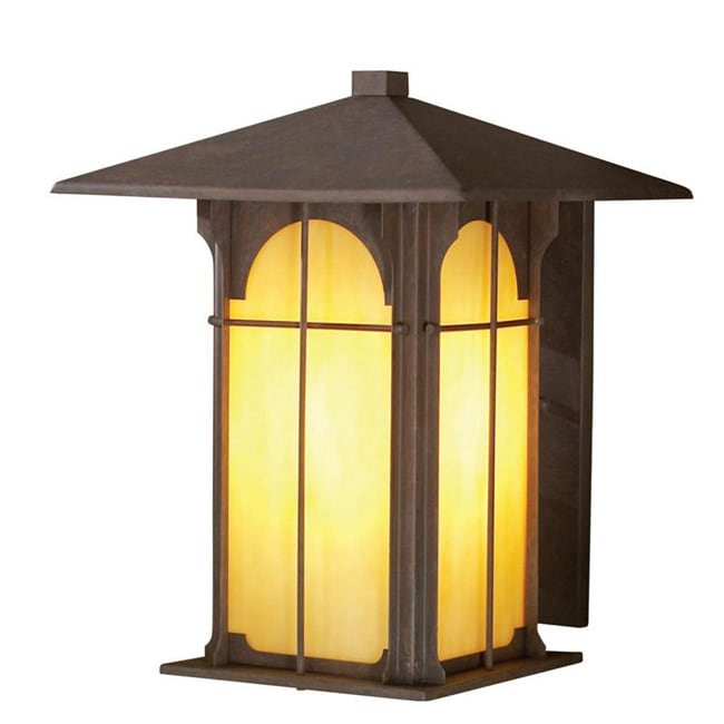 Aztec 1-light 11.5-inch Olde Brick Outdoor Honey Opal Glass Wall Light