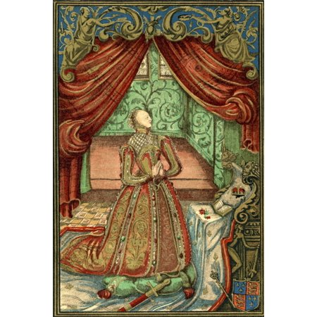Queen Elizabeth I At Prayer After The Frontispiece To Christian Prayers 1569 Elizabeth I 1533 To 1603 Queen Of England And Ireland From The Book Short