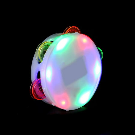 AI337 LED Light Up Round Tambourine, Tambourine for Kids, Tambourine Toy, Hand Tambourine, LED Tambourine-Birthday, Christmas, Mardi Gras, Rave Party-.., By Fun Central (Mardi Gras Birthday Party)