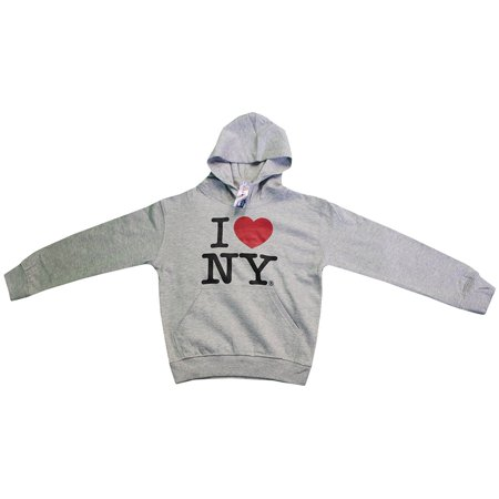 Ny Kids Hoodie - I Love NY New York Kids Hoodie Screen Print Heart Sweatshirt Gray Large (14-16)