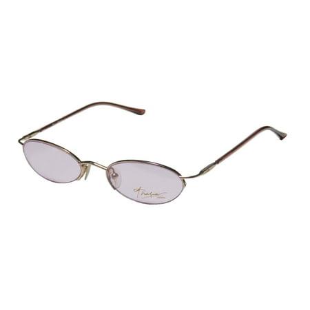 Frame Brown Lenses Rhinestones - New Thalia Miranda Womens/Ladies Designer Half-Rim Gold / Brown Affordable Half-rimless Sleek Frame Demo Lenses 49-18-135 Flexible Hinges Eyeglasses/Eyewear